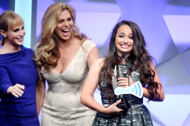 Jazz Jennings accepts the award for outstanding reality program for 'I am Jazz' onstage during the 27th Annual GLAAD Media Awards at the Beverly Hilton Hotel on April 2, 2016