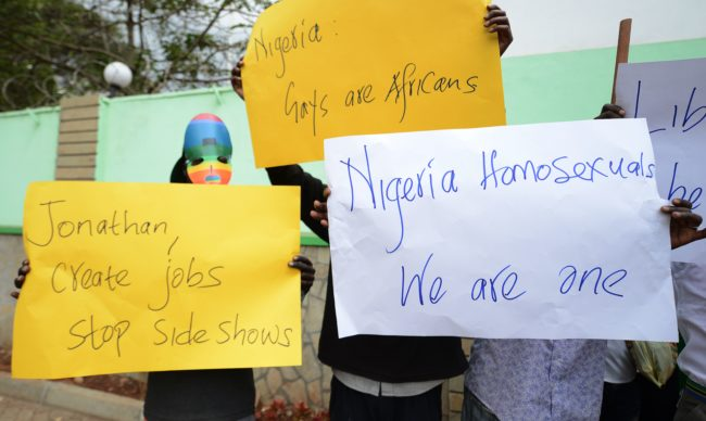 Gay and lesbian organisations demonstrate outside the Nigerian High Commission in Nairobi on February 7, 2014