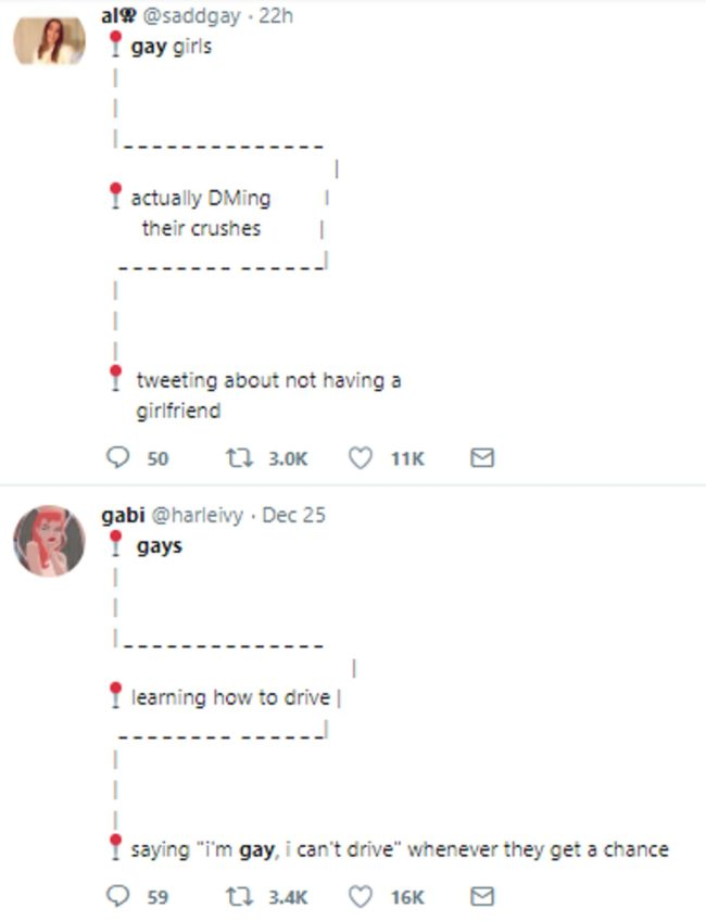 Two tweets of a gay meme which took Twitter by storm in December 2018
