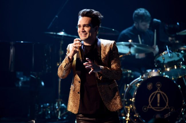 Panic! at the Disco's pansexual singer Brendon Urie performs onstage during the iHeartRadio Album Release Party on June 21, 2018
