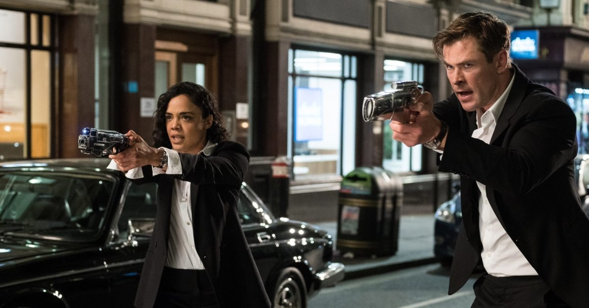 Tessa Thompson and Chris Hemsworth suited up as secret agents in Men in Black: International (Sony)