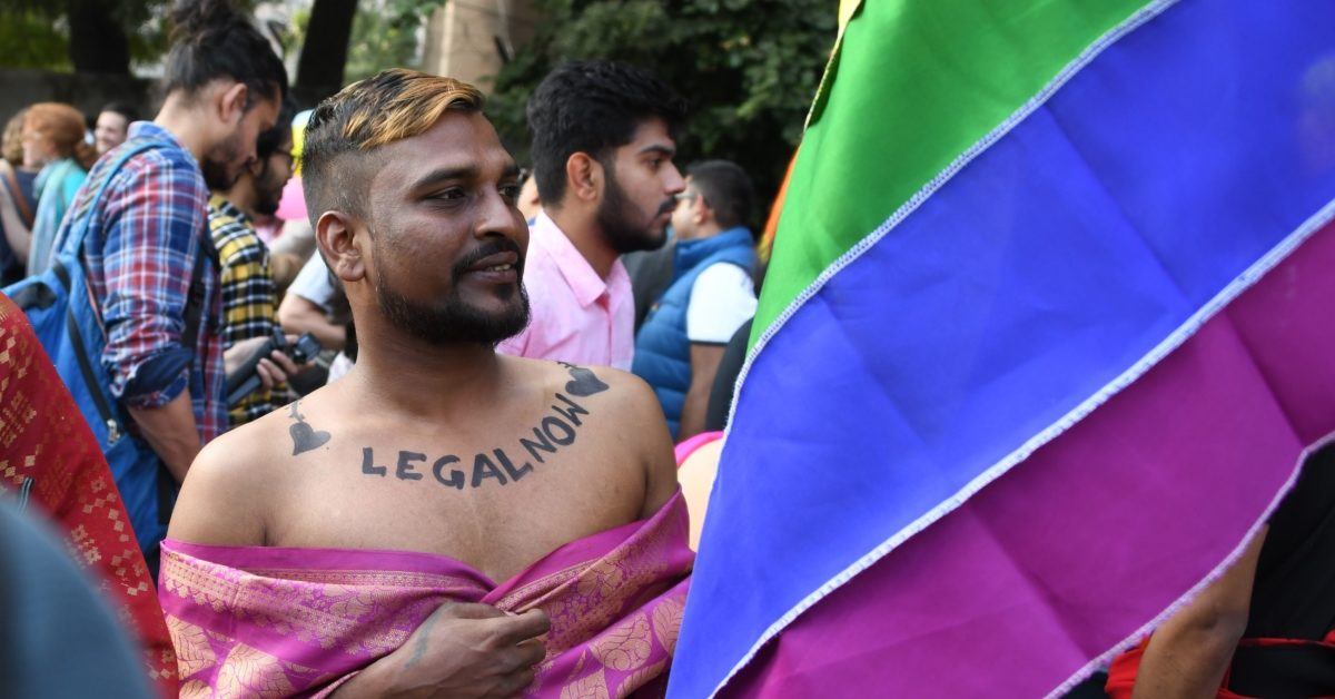 A participant in the first Indian pride parade since gay sex was decriminalised, a landmark moment of 2018 (Dominique Faget/AFP/Getty)
