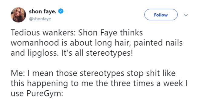 A tweet by Shon Faye about the trans woman who was thrown out of a PureGym women's changing room