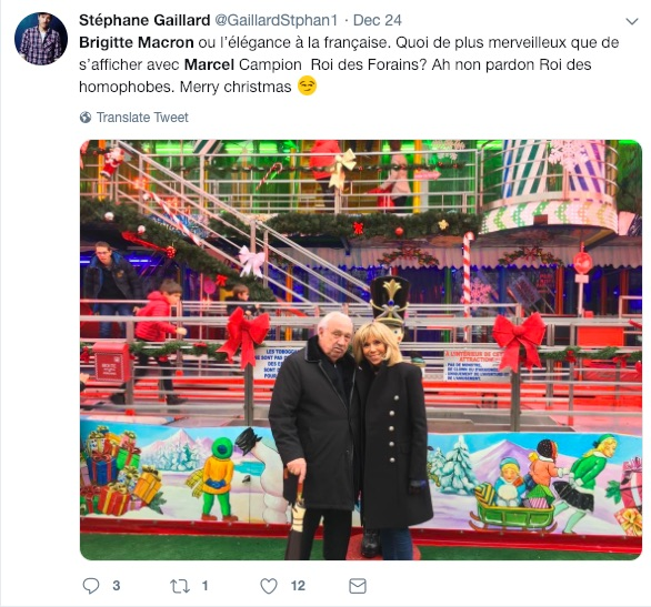 A tweet criticising French first lady Brigitte Macron for posing with Marcel Campion.