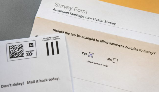 Australia equal marriage vote: A photo taken in Sydney on September 20, 2017, shows the voting form in the contentious postal survey on same-sex marriage.