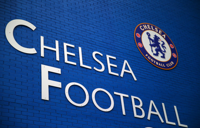 The Chelsea badge is seen at the club's Stamford Bridge ground