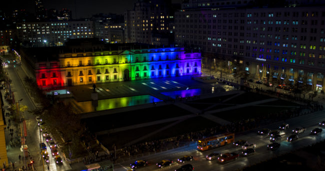 Chile's presidential palace is illuminated with rainbow lighting in support of the gay community
