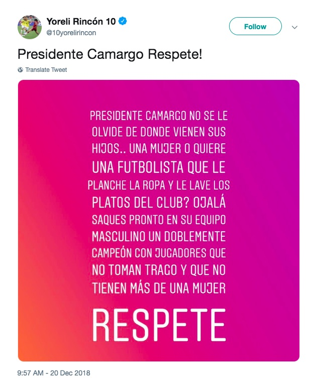 Yoreli Rincon condemning Gabriel Camargo on Twitter for his lesbian remark