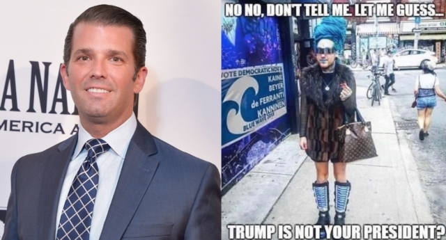"""Donald Trump Jr is under fire for posting a """"transphobic"""" meme (pictured right) on Instagram. ( Shannon Finney/Getty Images/donaldjtrumpjr)"""