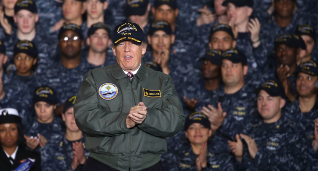 President Donald Trump speaks to members of the U.S. Navy and shipyard workers on board the USS Gerald R. Ford CVN 78 that is being built at Newport News shipbuilding, on March 2, 2017 in Newport News, Virginia. (Mark Wilson/Getty)