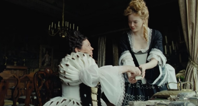 Olivia Colman (left) and Emma Stone starring in The Favourite. (Fox Searchlight Pictures)