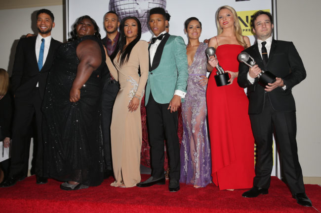 Jussie Smollett and co-stars pose with the Outstanding Drama Series award for Empire in the press room during the 47th NAACP Image Awards presented by TV One at Pasadena Civic Auditorium on February 5, 2016 in Pasadena, California.