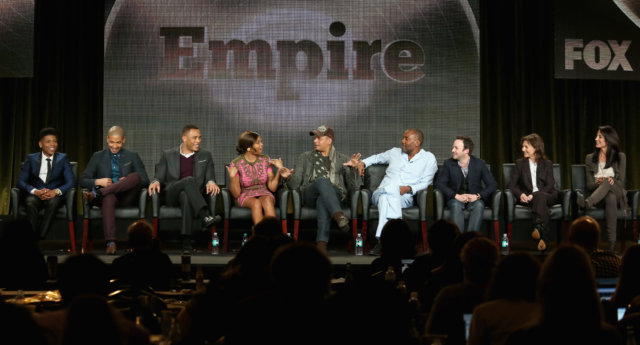 Empire actors Bryshere Gray, Jussie Smollett; Trai Byers, Taraji P. Henson, Terrence Howard, creators Lee Daniels and Danny Strong and executive producers Ilene Chaiken and Francie Calfo speak onstage during the 'Empire' panel discussion in 2015.  (Frederick M. Brown/Getty)