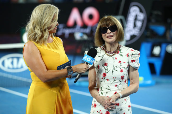 Anna Wintour is interview at the Women's Day Ceremony during day 11 of the 2019 Australian Open.