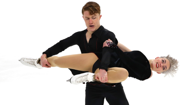Karina Manta and Joseph Johnson became the first openly LGBT duo to compete in the US Figure Skating Championships at Little Caesars Arena on January 25, 2019 in Detroit, Michigan. (Gregory Shamus/Getty)