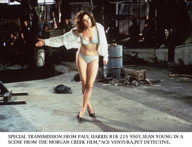 Sean Young in the transphobic scene from Ace Ventura, Pet Detective.