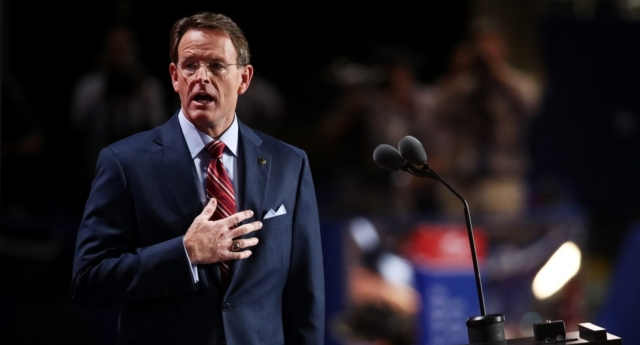 Tony Perkins, President of the Family Researcil Council, stand for the Pledge of Allegiance on the fourth day of the Republican National Convention (Win McNamee/Getty)