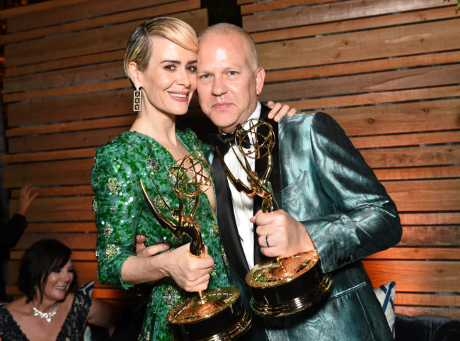 Actors Sarah Paulson and Ryan Murphy, who are working together on the Netflix series Ratched along with others LGBT+ actors, attend an Emmy afterparty.