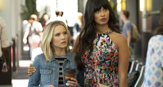 Eleanor Shellstrop (Kristen Bell) with Tahani Al-Jamil (Jameela Jamil) on The Good Place (NBC)