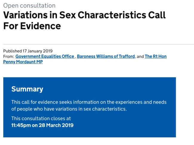 Call for evidence for intersex people