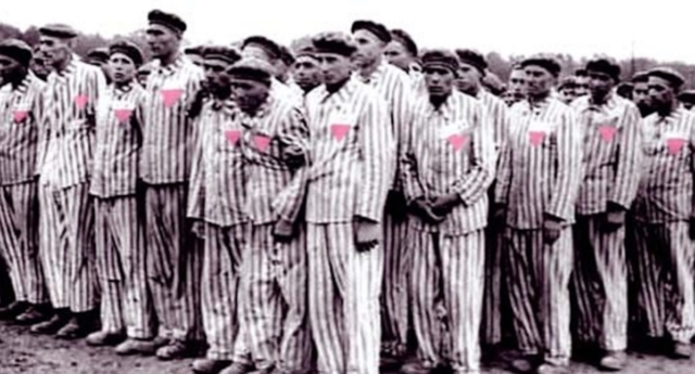 Gay men wearing the pink triangle in a Nazi concentration camp. (Stock image)
