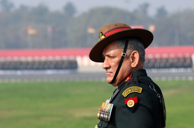Indian army chief Bipin Rawat inspects the army Day parade in New Delhi on January 15, 2018.