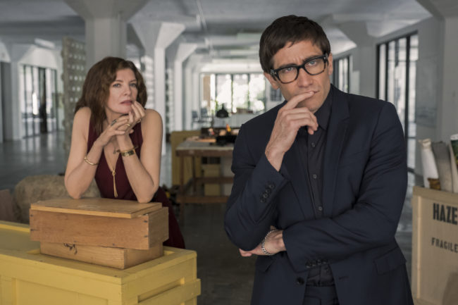 Rene Russo and Jake Gyllenhaal in a publicity shot for Velvet Buzzsaw