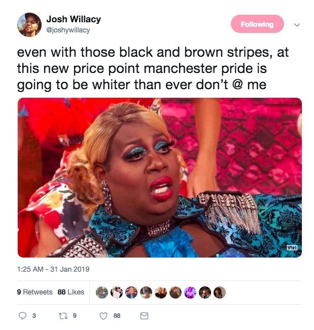 A twitter user criticises Manchester Pride