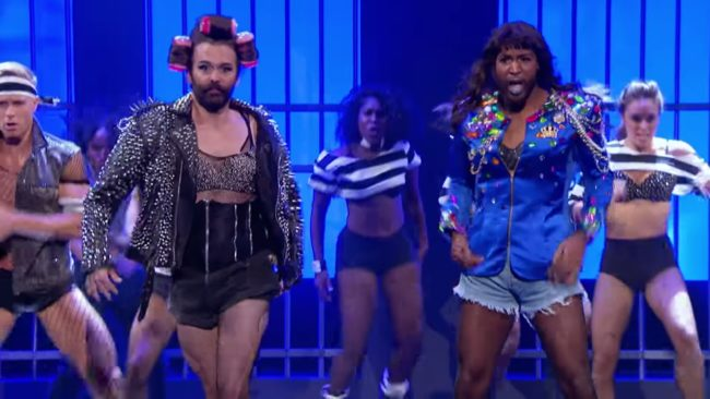 Queer Eye stars Jonathan Van Ness and Karamo Brown as Lady Gaga and Beyoncé on Lip Sync Battle