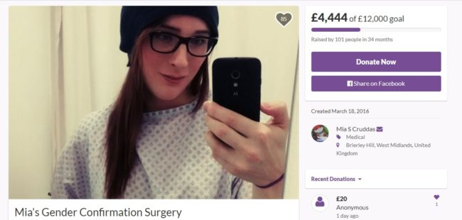 Mia is crowdfunding on GoFundMe for gender surgery