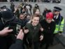 Guardian journalist Owen Jones is escorted away from protesters in central London on January 12, 2019. (DANIEL LEAL-OLIVAS/AFP/Getty)