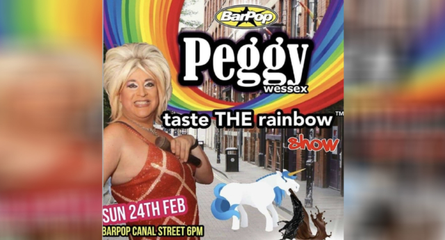 Manchester drag queen Peggy Wessex came under fire over the poster