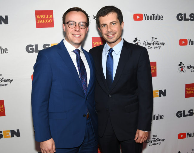 Mayor Peter Buttigieg (right) with husband Chasten at the 2017 GLSEN Respect Awards