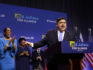 Illinois Democratic candidate for Governor J.B. Pritzker and his Lieutenant Governor pick Juliana Stratton arrive during his primary election night victory speech on March 20, 2018 in Chicago, Illinois. (Joshua Lott/Getty)