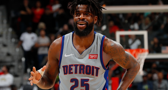 Reggie Bullock #25 of the Detroit Pistons reacts during the game against the Atlanta Hawks at Philips Arena on February 11, 2018 in Atlanta, Georgia. (Kevin C. Cox/Getty)