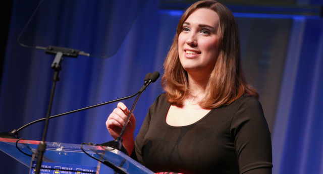 Sarah McBride, national press secretary for the HRC Foundation, speaks onstage at The Human Rights Campaign 2018 Los Angeles Gala Dinner at JW Marriott Los Angeles at L.A. LIVE on March 10, 2018 in Los Angeles, California.  (Rich Fury/Getty Images for Human Rights Campaign)