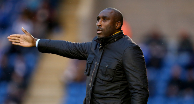 Sol Campbell, Manager of Macclesfield Town calls instruction from the touchline during the Sky Bet League Two match on December 8, 2018 (Jordan Mansfield/Getty)