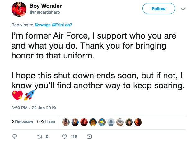 Twitter user shows support for non-binary NASA intern V Wegman