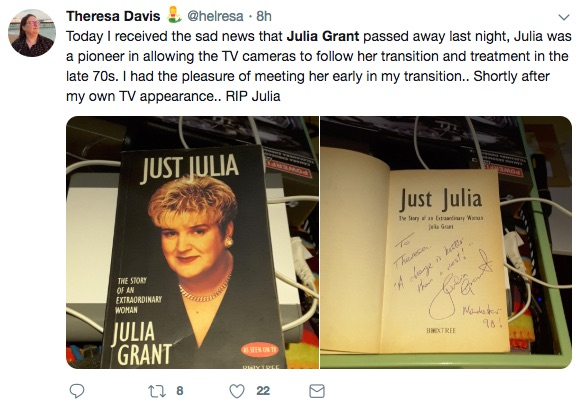 Tributes to Julia Grant on Twitter