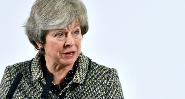 Prime Minister Theresa May speaks to media as she launches the NHS Long Term Plan at Alder Hey Children's Hospital on January 07, 2019 in Liverpool, England. (Anthony Devlin/Getty)