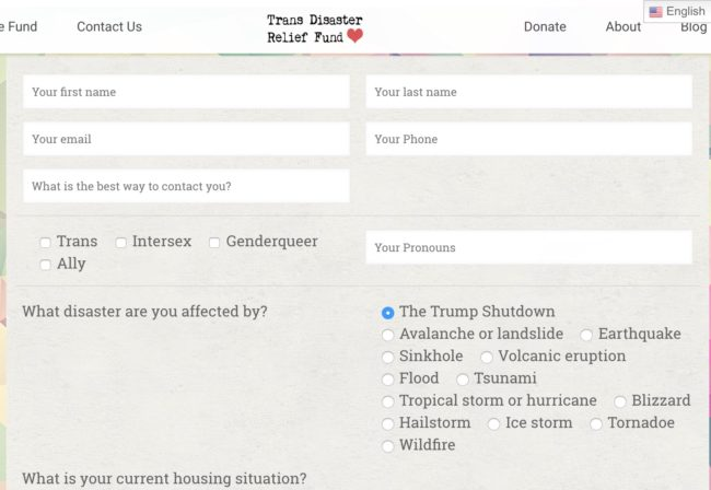 The form on the Transgender Disaster Relief Fund website needed to receive assistance during the government shutdown.