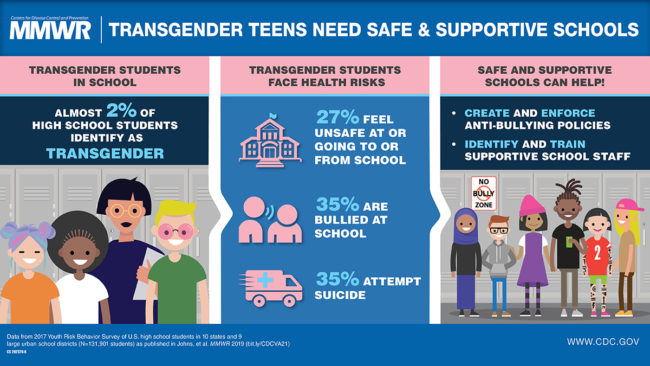 An infographic displaying the CDC findings on transgender students.