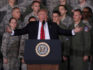 President Donald Trump speaks to Air Force personnel (Alex Wong/Getty)