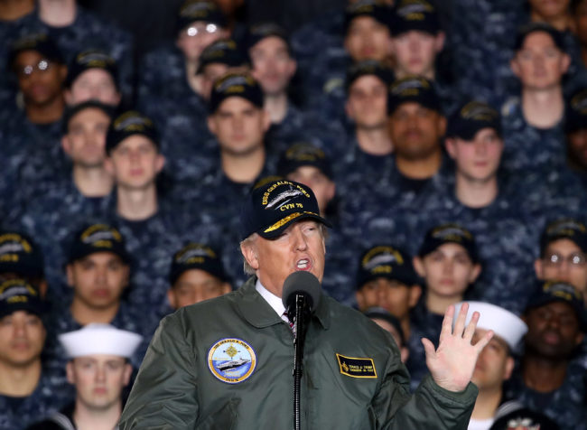 Trans troops ban: President Donald Trump speaks to members of the U.S. Navy and shipyard workers