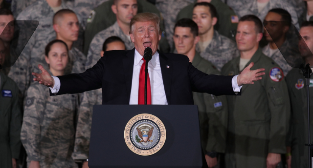 US President Donald Trump speaks to Air Force personnel during an event September 15, 2017 at Joint Base Andrews in Maryland. (Alex Wong/Getty)
