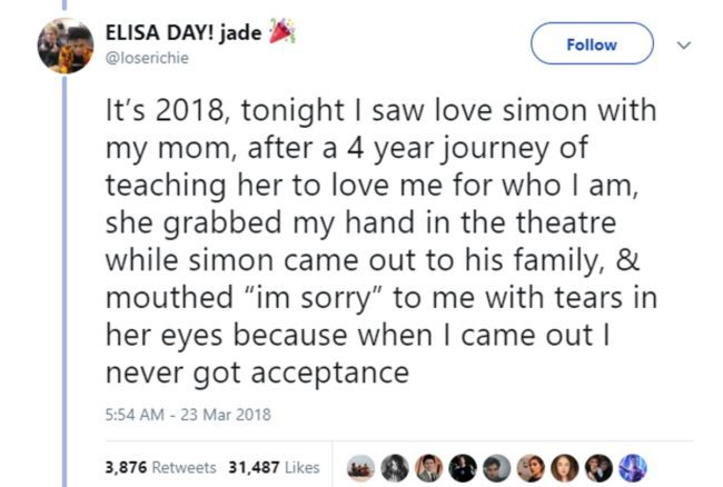 "Tweet reading: ""She grabbed my hand in the theatre while simon came out to his family, & mouthed 'I'm sorry' to me with tears in her eyes because when I came out I never got acceptance"""