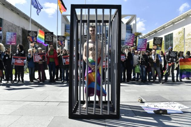 A protest in Berlin calling on Russian President Vladimir Putin to put an end to the persecution of gay men in Chechnya