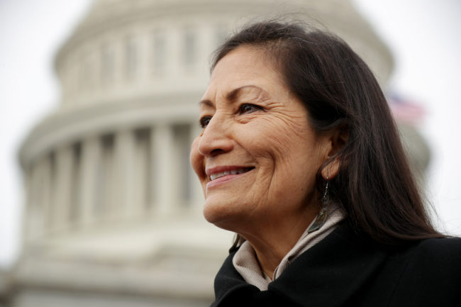 Deb Haaland talks with reporters after a portrait with her fellow House Democratic women in front of the U.S. Capitol January 04, 2019 in Washington, DC