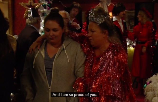 EastEnders character Bernie came out to her mum Karen.