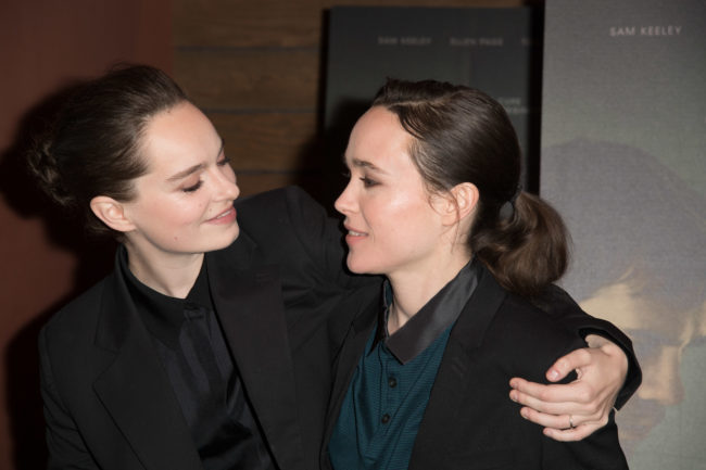"Emma Portner and Ellen Page attend the screening of IFC Films ""The Cured"" at AMC Dine-In Sunset 5 on February 20, 2018"